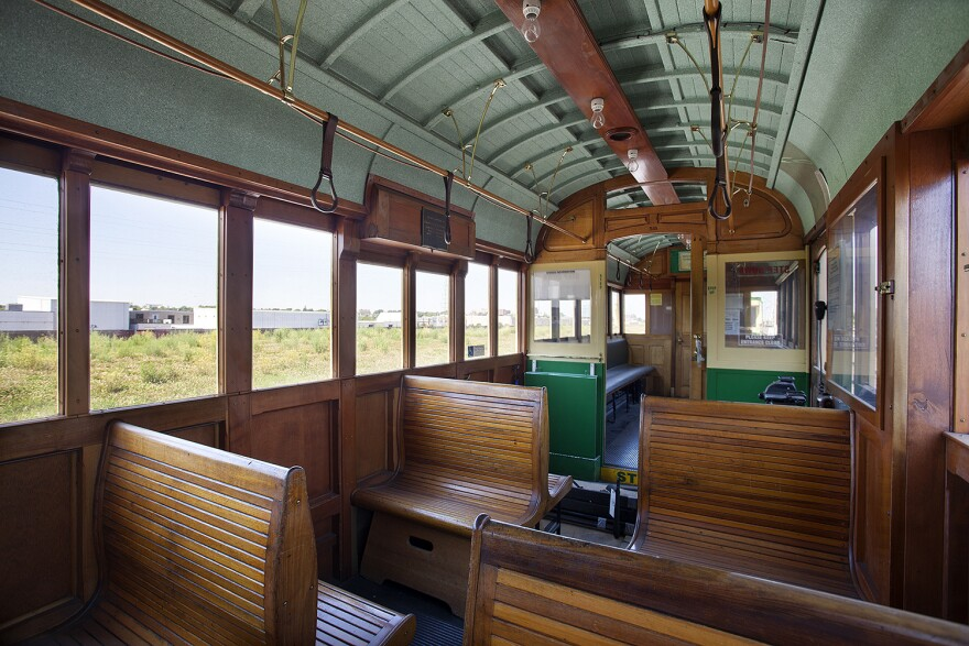 Interior of one of the newly purchased trolley cars slated for use on the Loop Trolley.
