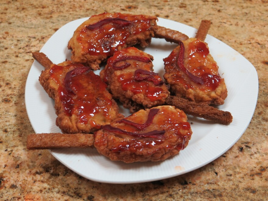 Among the family recipes handed down to Milgrom is chuletas, the Spanish word for pork chops. Made from bread and milk, the dish is basically French toast that's been fried in the shape of a pork chop and dressed up with tomato jam and pimentos. Crypto-Jews would have eaten it so that their Catholic neighbors and employees would not suspect they still kept their faith in secret.
