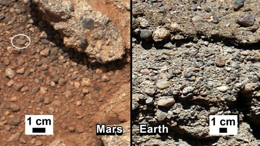 NASA says it has found proof that water shaped the rocks on the left, in a photograph taken by the Mars rover Curiosity (left). For comparison, the agency released an image of rocks from Earth (right).