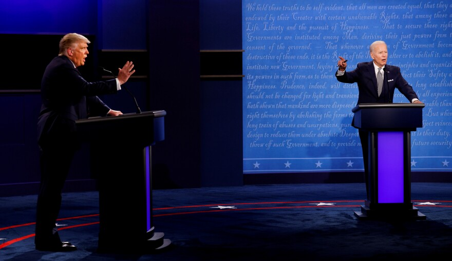 U.S. President Donald Trump and Democratic presidential candidate Joe Biden participate in their first 2020 presidential campaign debate on the campus of the Cleveland Clinic at Case Western Reserve University in Cleveland, Ohio, on Sept. 29.