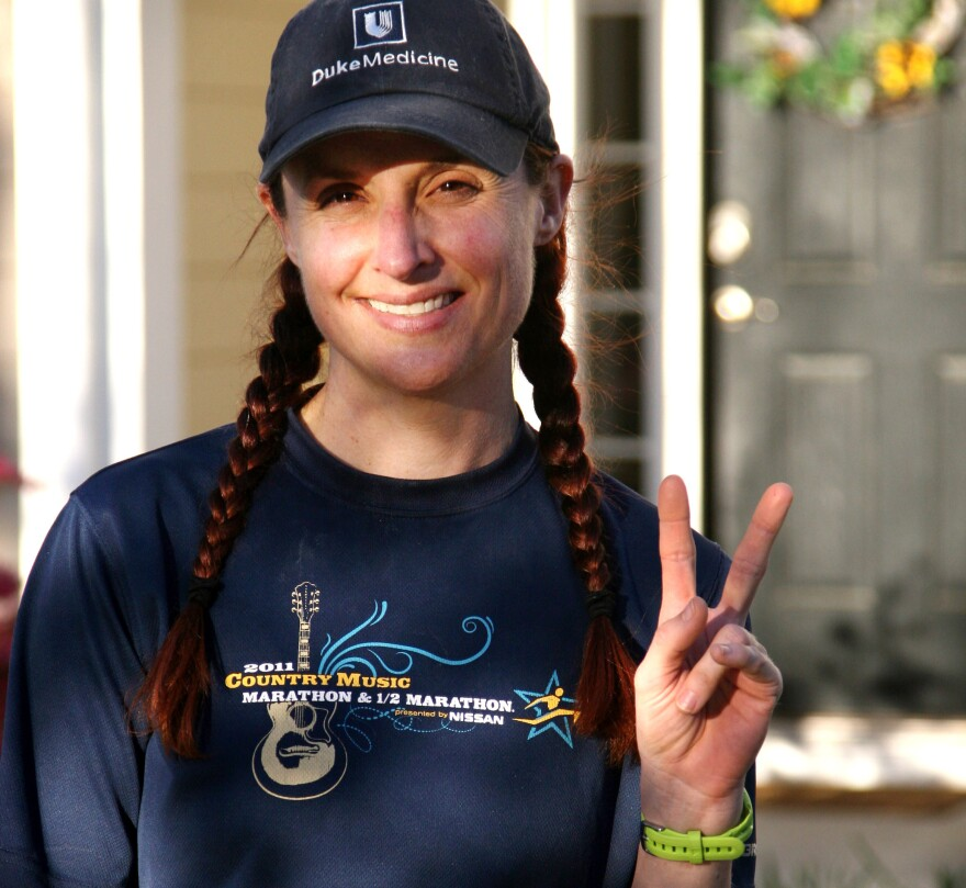 Demi Clark at home in Mount Pleasant, S.C., after running 20 miles on March 30.