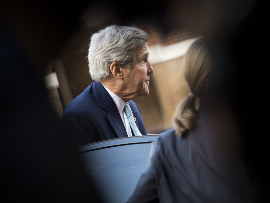 U.S. Secretary of State John Kerry, at Lancaster House in London on Sunday.