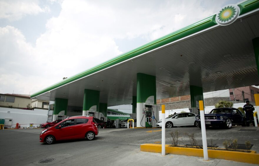 A customer pulls out of a BP gas station on the outskirts of Mexico City, Saturday, March 11, 2017. Until last year, all Mexican gas stations operated under the brand of the state-owned petroleum company Pemex. Now Pemex has competition from BP. (Eduardo Verdugo/AP)