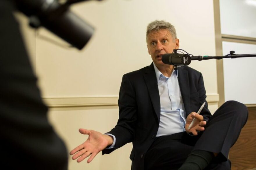 Libertarian presidential candidate and former New Mexico Governor Gary Johnson stepped into the Texas Standard mobile newsroom to speak with host David Brown.