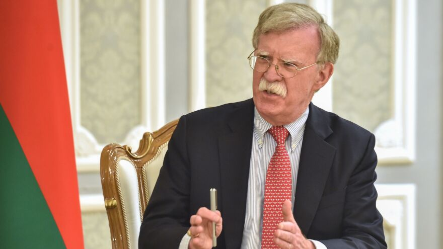 Then-national security adviser John Bolton in Minsk, Belarus, in 2019.