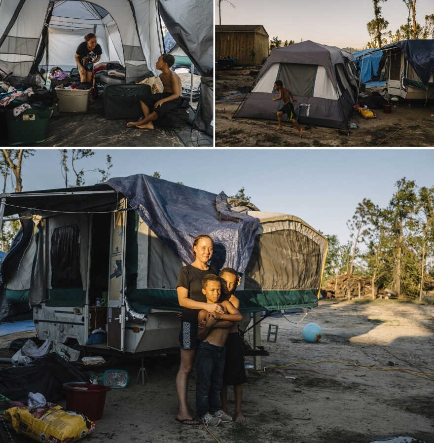 Amanda Bohn, 29, has been living on the Summers' property with her sons Isaiah, 8, and Dominike, 9, for two months. She had been living in a rental trailer in nearby Parker but was evicted after the hurricane.