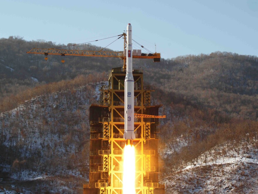 North Korea's Unha-3 rocket lifts off from the Sohae launchpad in 2012.