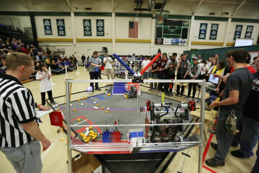 School robotics competitions like this one at Missouri S&T in 2016 can help students develop an interest in STEM fields. 3/15/16