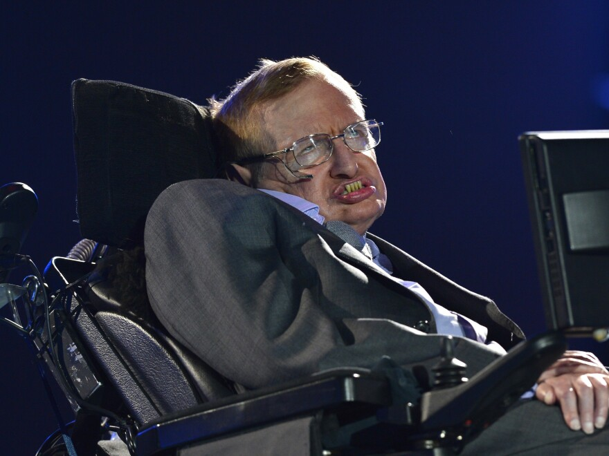 British scientist Stephen Hawking appears during the opening ceremony of the London 2012 Paralympic Games in London last year.