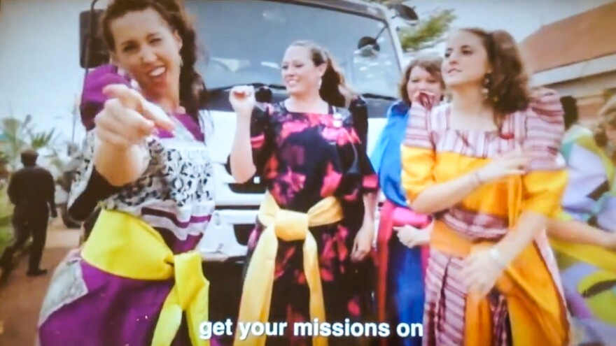 Dressed in Uganda-style garb, these women are featured in the video made by Luket Ministries, an Oklahoma-based missionary group that works in Eastern Uganda.