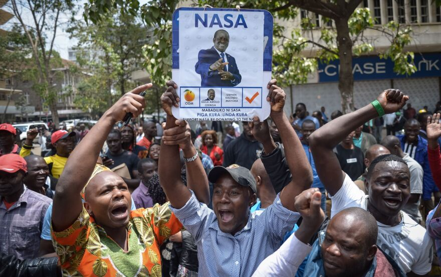 Supporters of opposition challenger Raila Odinga celebrate Friday after Kenya's Supreme Court ordered a rerun of the Aug. 8 presidential vote.