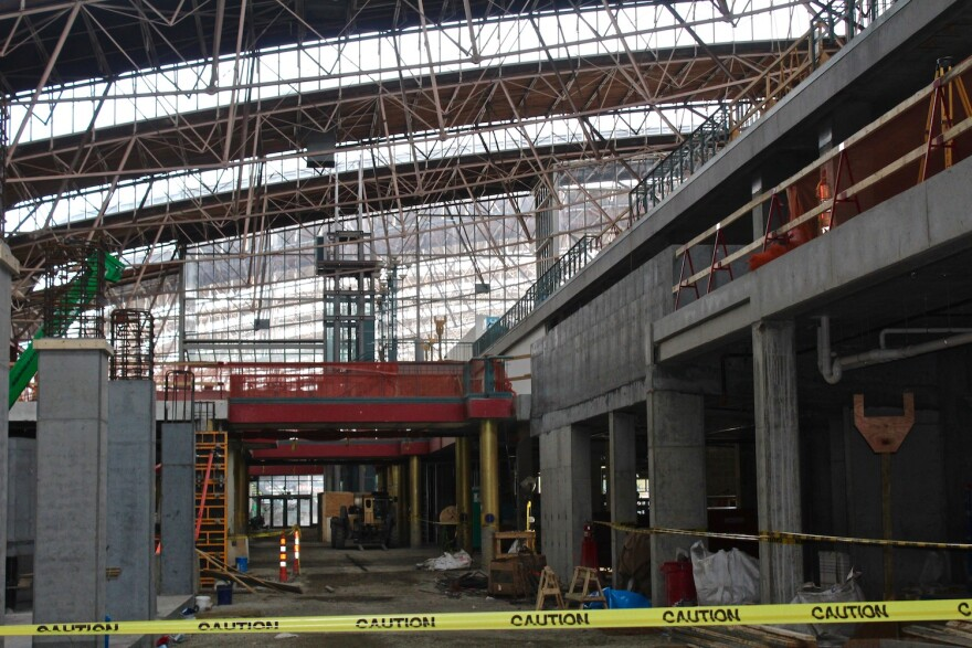 The infrastructure of the St. Louis Aquarium which is being built in the historic train shed of Union Station.