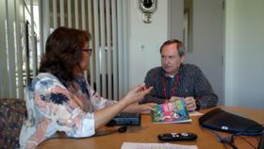 Dr/ John Lanza, Director of the Florida Department of Health in Escambia County, speaks to Sandra Averhart about childhood obesity.