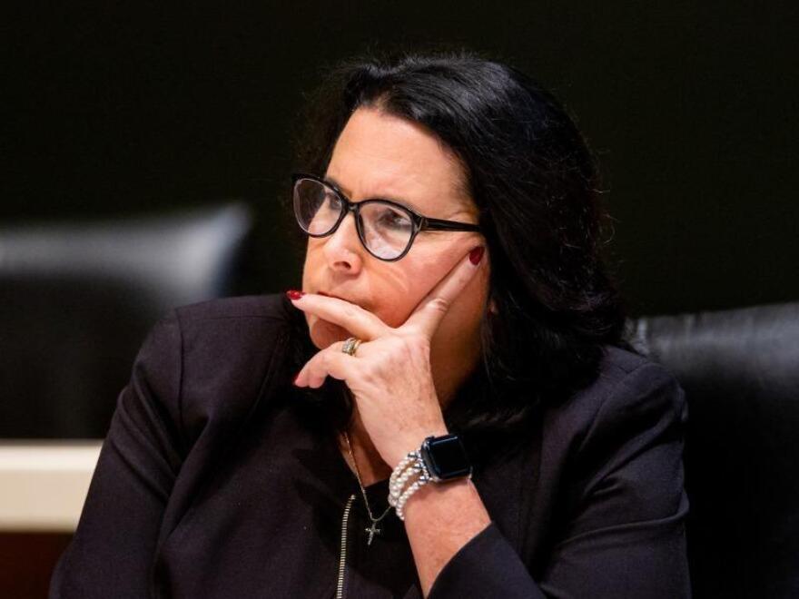 Kelli Stargel listens during a meeting