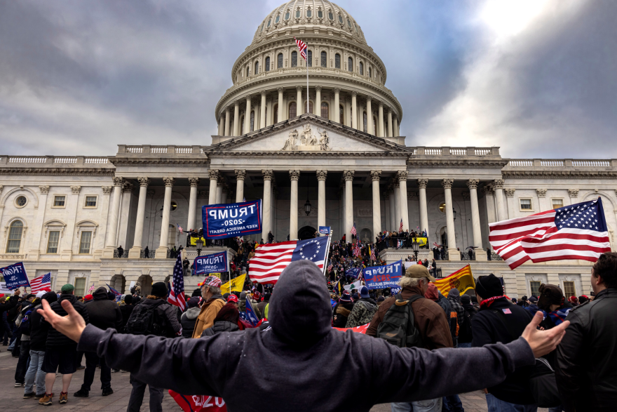 Supporters of former President Donald Trump protest outside the US Capitol on January 6, 2021, in Washington, DC. (Alex Edelman/AFP via Getty Images)