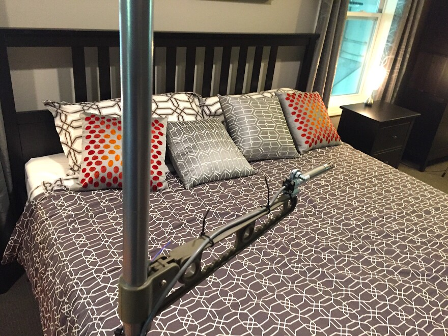 """A sensor inside the Helix home's master bedroom. """"Sensors are everywhere in this building. We have temperature and humidity and pressure sensors and carbon dioxide sensors,"""" Rajendran says."""