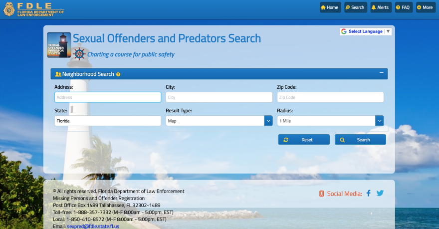 The Florida Department of Law Enforcement has a public database with information about known addresses of sex offenders