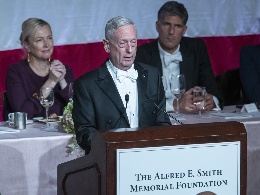 Former U.S. Secretary of Defense Jim Mattis delivers the keynote address during the 74th Annual Alfred E. Smith Memorial Foundation Dinner on Thursday in New York.