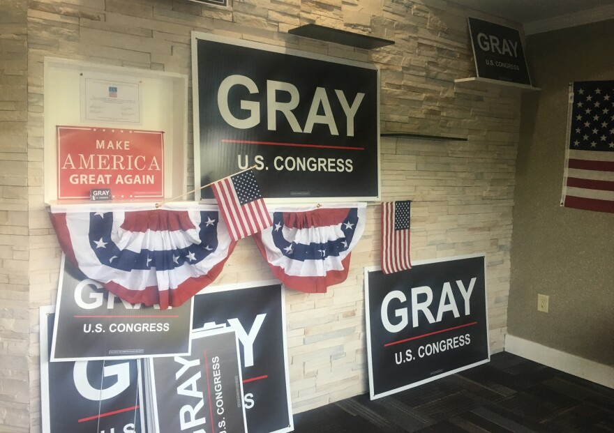 There were plenty of signs and photos supporting President Trump at Republican candidate Bob Gray's campaign office in Johns Creek, Ga.