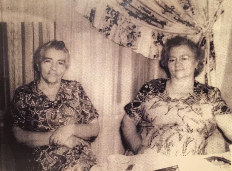 Theresa Tamburelli (right) with sister Rosie Martini. Tamburelli is credited with creating Napa's malfatti.
