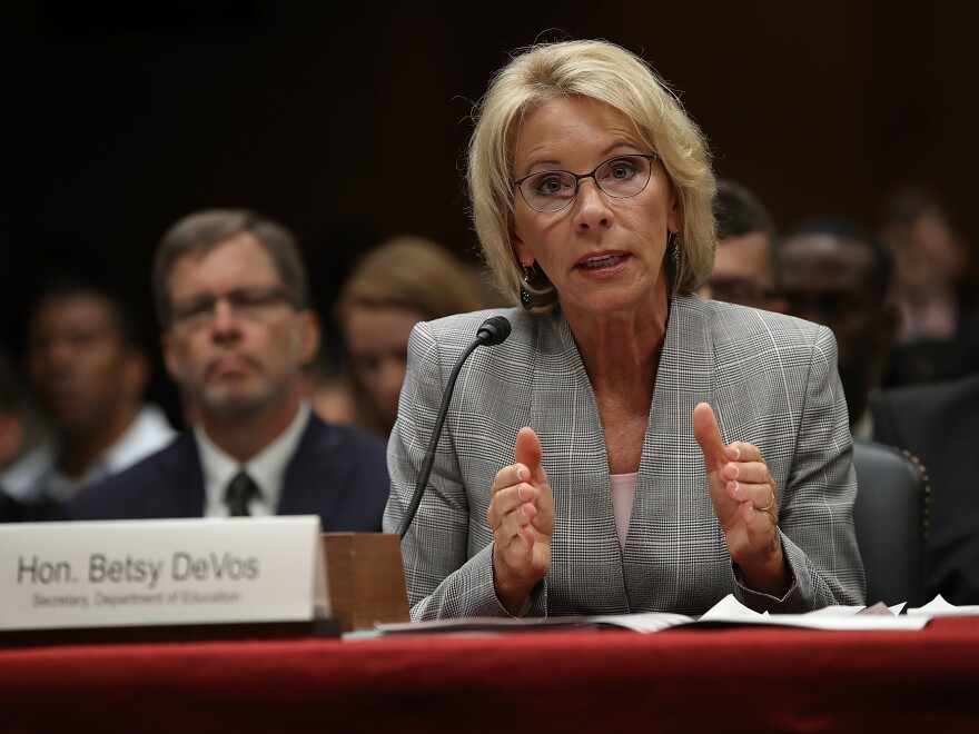 Education Secretary Betsy DeVos testifies before the Senate Appropriations Committee on Capitol Hill June 6, 2017 in Washington, D.C. DeVos testified on the fiscal year 2018 budget request for the Education Department.