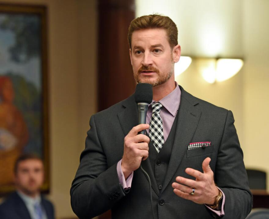 Rep. Greg Steube debates on the House floor on Feb. 2, 2016. Steube is the main author of most of the gun bills before the Legislature in 2017.