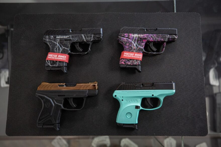 Pistols for sale at Delta Arsenal in Wallingford, Conn., are pictured in this 2019 file photo.