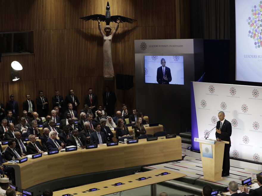 President Obama speaks during a summit on refugees at the U.N. on Sept. 20. The president has increased the target number for U.S. settlement to 110,000 refugees from the world's most vulnerable populations.