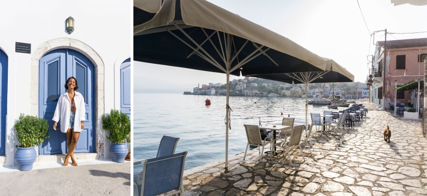 Left: Eleni Karavelatzi, co-founder of the travel company Visit Kastellorizo. Right: A dog walks on the empty promenade along the island's Aegean Sea shore.