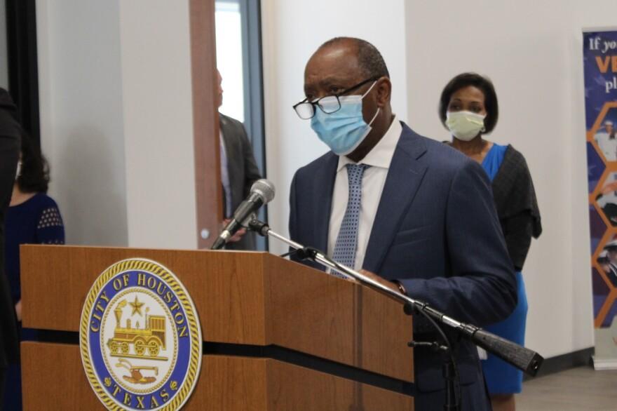 Houston Mayor Sylvester Turner speaks during a news conference last month.