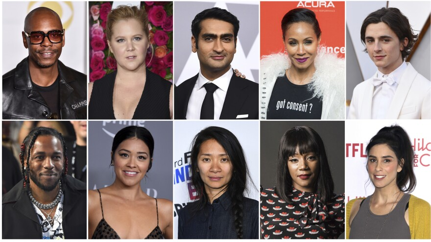 This combination photo shows, top row from left, Dave Chappelle, Amy Schumer, Kumail Nanjiani, Jada Pinkett Smith and Timothee Chalamet, and bottom row from left, Kendrick Lamar, Gina Rodriguez, Chloe Zhao, Tiffany Haddish and Sarah Silverman who are among 928 people invited to become members of the Academy of Motion Picture Arts and Sciences.