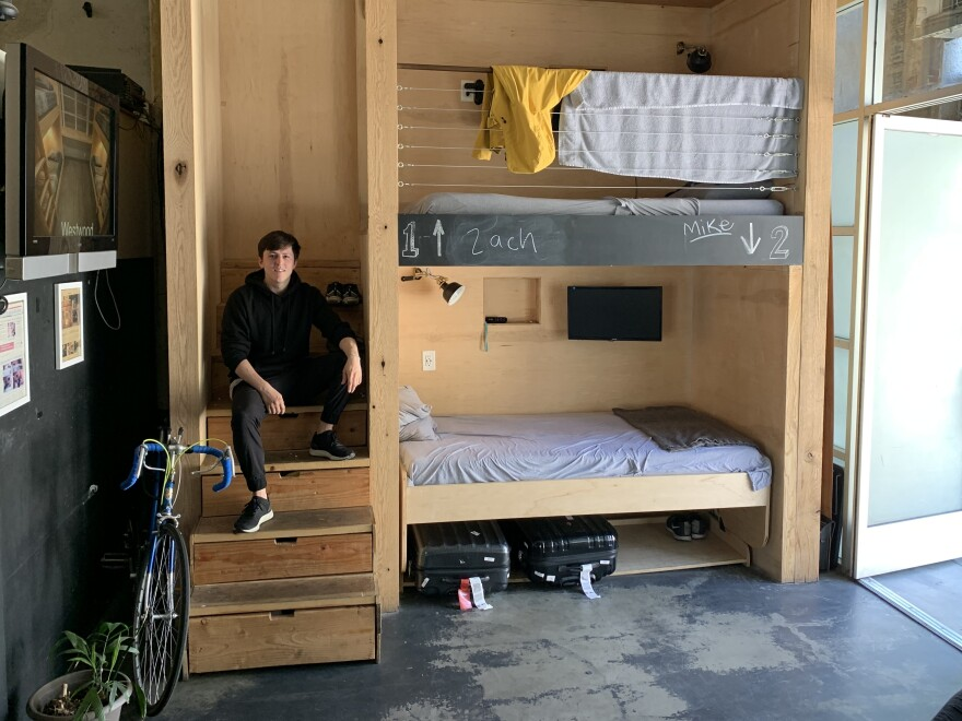"Steven T. Johnson rents a bed at the PodShare in Hollywood, Calif. ""When you don't own things, you don't have to keep track of them,"" he says. ""You just show up."""