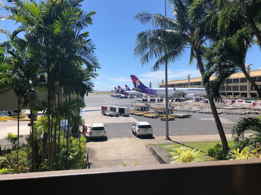 Hawaiian Airlines jets outside Daniel K. Inouye International Airport in Honolulu. Hawaii has seen a more than 90% reduction in the number of air travelers arriving since the start of the pandemic.