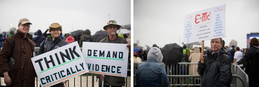 """(Left) Tim Baird, Art Sinclair and Jay Sinclair say their lifelong love for science brought them to the march. (Right) Marvin Blecher made his sign. """"I think this is perhaps the most recognized scientific equation. I haven't found anybody that would argue with it. It's nonpolitical. It works,"""" he says."""