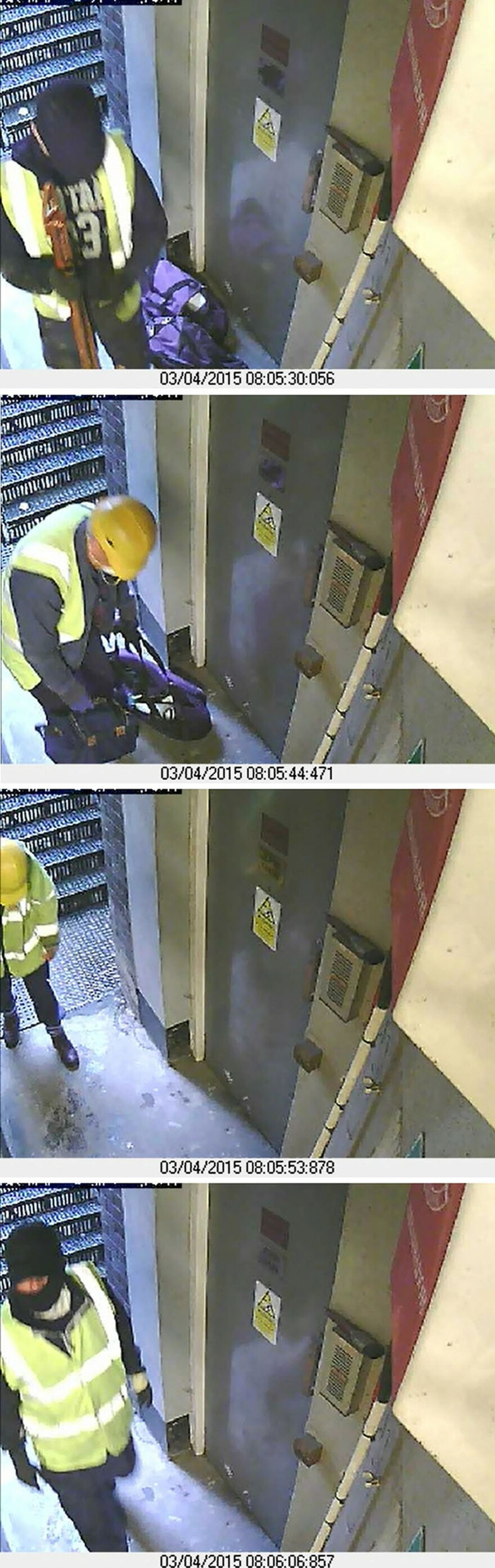Surveillance camera images issued by the Metropolitan Police show thieves entering and leaving the scene of the burglary of the Hatton Garden Safe Deposit company. Police arrested seven suspects Tuesday.