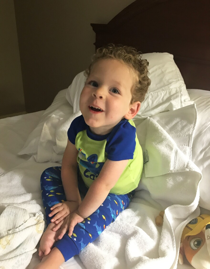 Eli Wheatley, 3, of Lebanon, Ky., was diagnosed in his first few weeks of life with spinal muscular atrophy, a genetic disease of motor neurons that was destroying his muscles. Thanks to a single infusion of experimental gene therapy, his mom says, she continues to see improvement every day.