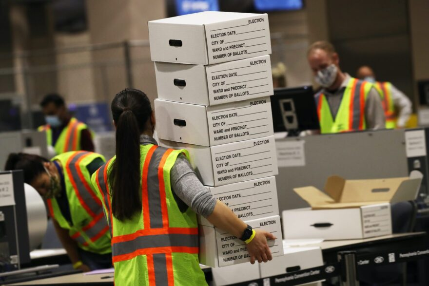 Election workers count ballots on November 04, 2020 in Philadelphia, Pennsylvania. With no winner declared in the presidential election last night, all eyes are on the outcome in a few remaining swing states.