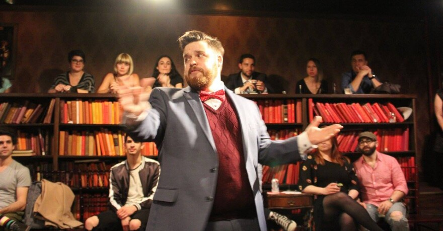 """Actor Mike Sause performs in <em>Drunk Shakespeare</em>, a show that combines improv with classical theater. Director David Hudson says the show is built around the premise that its quasi-fictional company of actors, known as the Drunk Shakespeare Society, are """"a group of professional drinkers with a Shakespeare problem."""""""