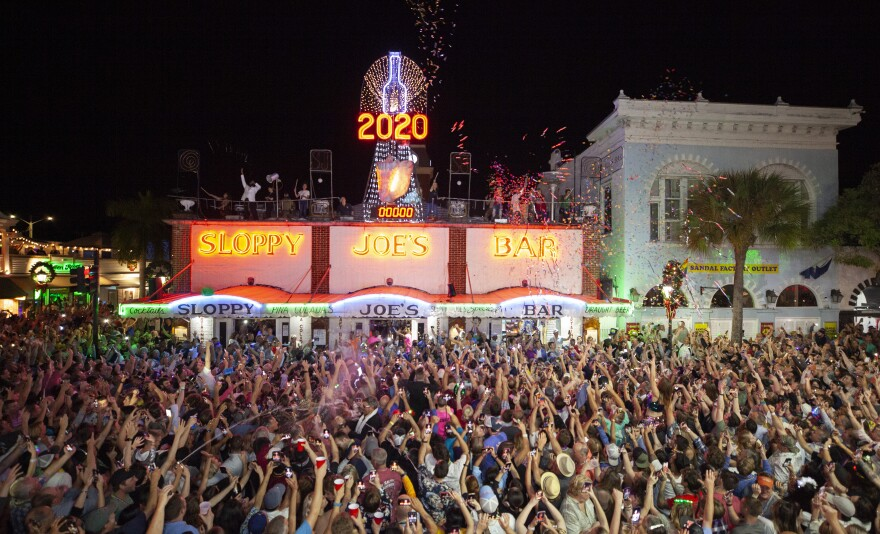 "Huge crowds usually gather in downtown Key West on New Year's Eve to see various ""drops"" like the conch shell at Sloppy Joe's."