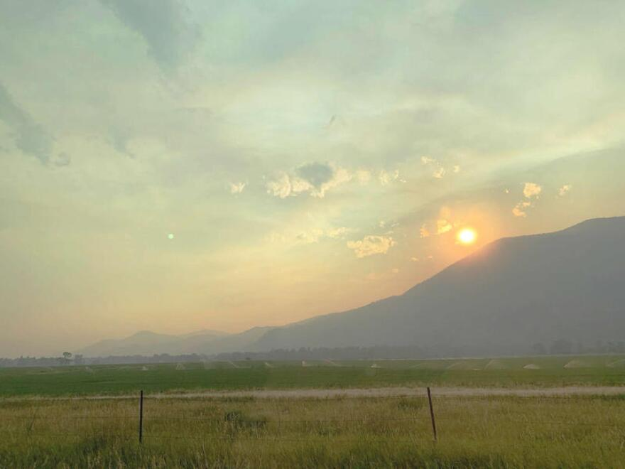 Smoke from the Bear Creek Fire was visible from the Livingston, MT area, Aug. 11, 2020.