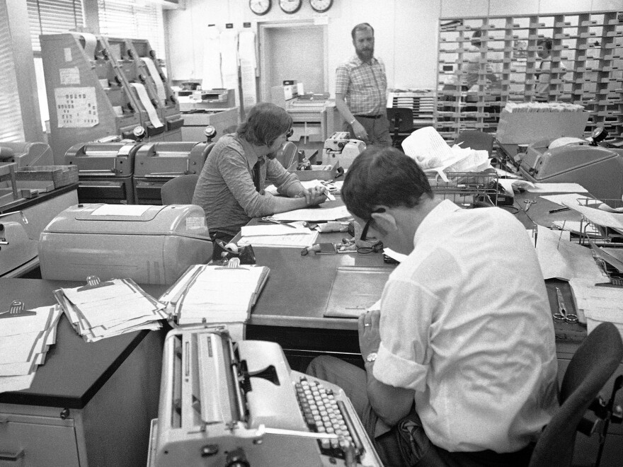 The newsroom of Radio Free Europe in 1971, when typewriters were the technology of choice.