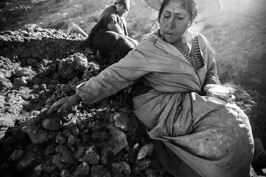 "Most women do not enter the mines for cultural reasons, locals told photographer Francescangeli, because miners think of the earth as a woman. ""A woman cannot enter another woman,"" they told him. Some women search for minerals outside the mines and others guard the tunnel entrances to keep unauthorized miners out, befriending stray dogs to help them keep watch."