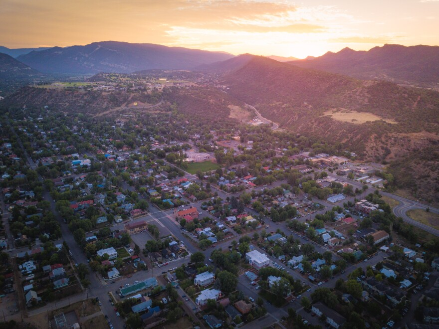 An aerial view of Durango, Colo.
