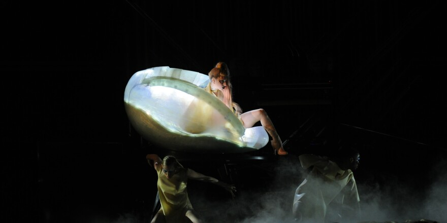 "Gaga, emerging from an egg during a performance of ""Born This Way at the 2011 Grammy Awards in Los Angeles."