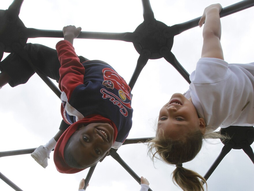 Students at Northeast Elementary Magnet, in Danville, Ill., play around. Fewer than 1 in 5 parents polled said their kids were getting physical education daily.
