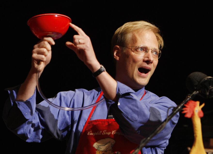 "Brian Wansink demonstrates his ""bottomless bowl of soup"" — used to show that people eat more when served in a bowl secretly replenished from the inside — after he was awarded a 2007 Ig Nobel Prize in 2007 at Harvard University. Wansink made a name for himself producing pithy, palatable studies that connected people's eating habits with cues from their environment."