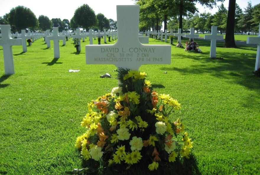 Army Cpl. David Leonard Conway's grave is in the Netherlands. His daughter has visited several times with other war orphans.