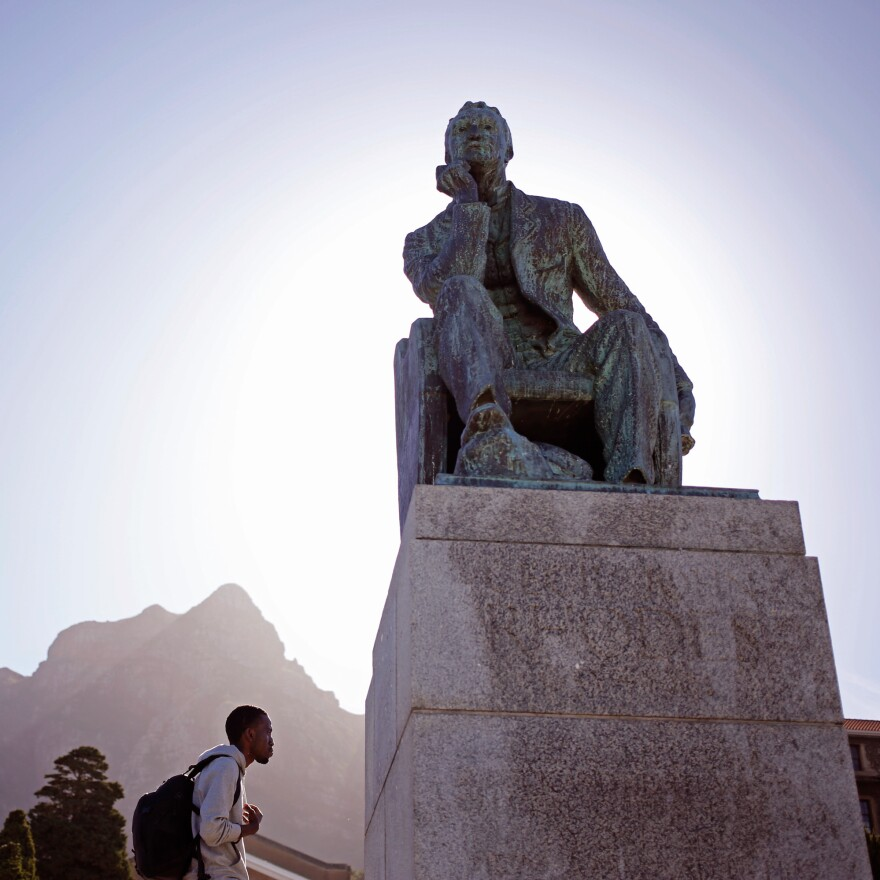 The statue of Cecil Rhodes sits on the University of Cape Town. Rhodes, who died in 1902, bequeathed the land for the campus.