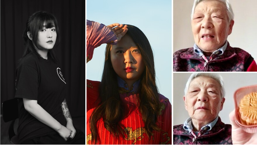 From left: Deng Ge is a rap mogul who became a lockdown activist. Poet Sally Wen Mao Mao uses her art to express her anger about how Chinese people are being portrayed in the pandemic. Writer and comic artist Laura Gao, living in the U.S., has a video chat with her grandmother Zhou Nai, who's happy to have a supply of moonpies.