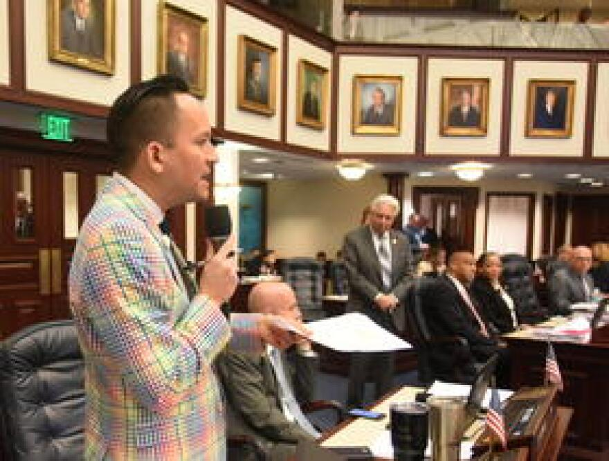 Rep. Carlos Guillermo Smith, a Democrat from Orlando, debates on the House floor. He has called for a memorial for the victims of the Pulse shooting.